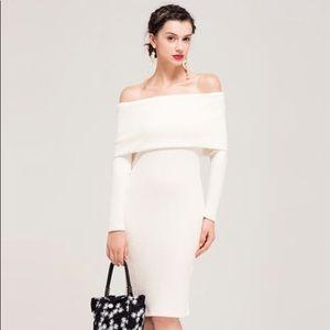 Dresses & Skirts - Off-Shoulder White Knit Dress